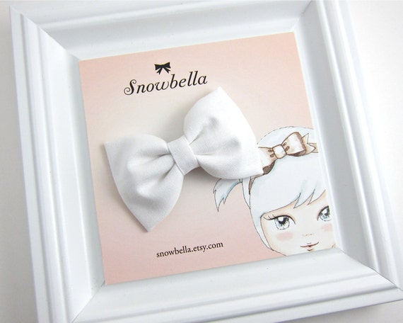 Fabric Bow Hair Clip White Sweet Vintage Style