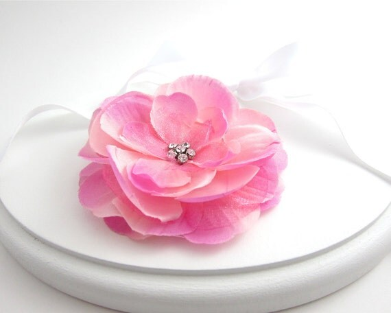 Pink Rose Flower Hair Clip Fascinator