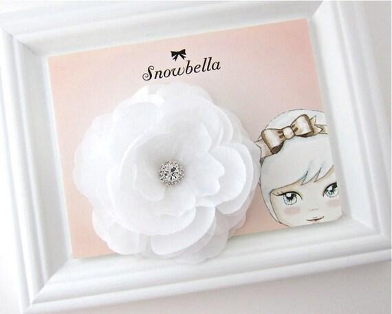 White Rhinestone Rose Flower Hair Clip Fascinator