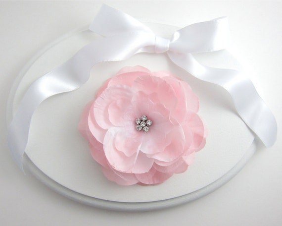 Soft Pink Rose Flower Hair Clip Fascinator