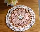 Dreamy Peach & Ecru Lace Crochet Doily, Cottage Chic Home Decor, Fiber Art, OOAK