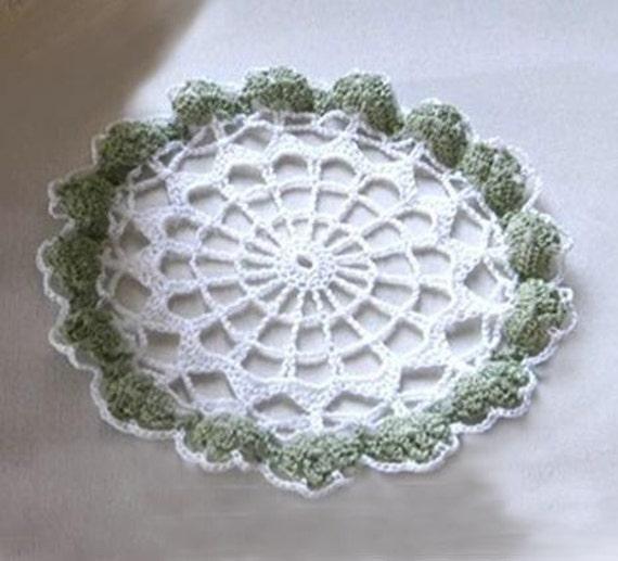 Clover Puffs and Lattice Crochet Doily Irish by NutmegCottage
