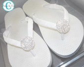 Bridal Flip Flops White Ivory Rhinestone Wedding Bride Bridal Party Bridesmaid Gift Custom Bling