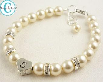 Cream Pearl Flower Girl Bracelet - or choose your swarovski colors - sterling silver & custom