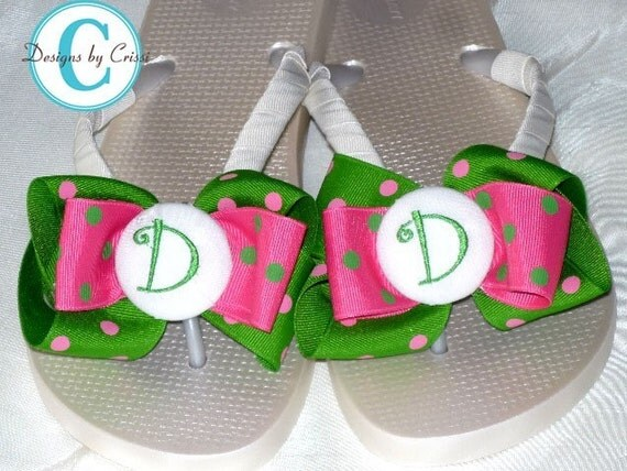 Bridal Bride Wedding White or Ivory Ribbon Bow Mongorammed Personalized Initial Flip Flops, polka dot, hot pink, Great for brides, flower girls, bridesmaids