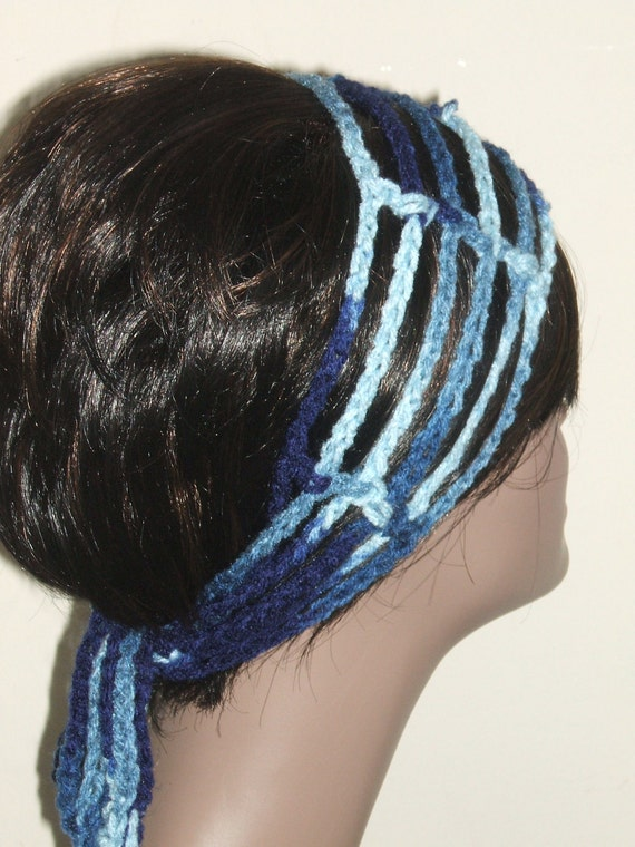 Crochet Gipsy Rasta Hair Wrap Headband in Blues by MonetCreations