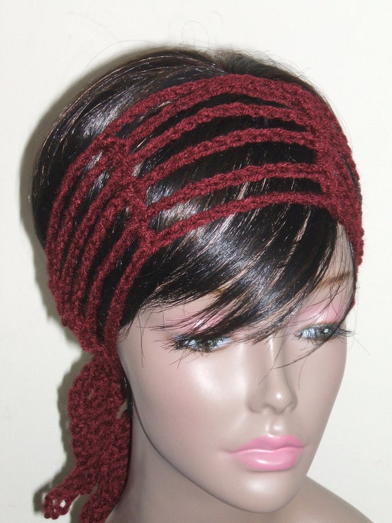 Crochet Hair Wrap : Crochet Gipsy Rasta Hair Wrap Headband in Autumn by MonetCreations