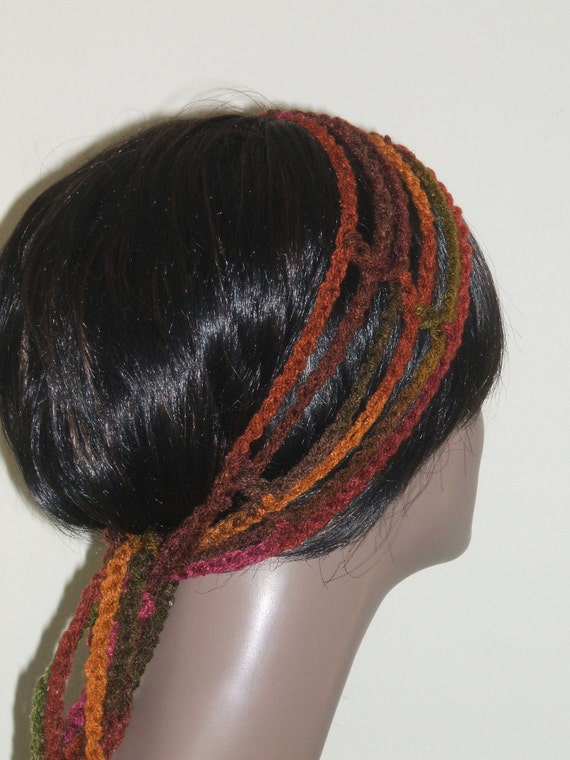 Crochet Hair Wrap : Crochet Gypsy Rasta Hair Wrap Headband in by MonetCreations