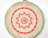 New Low Price, Embroidery Hoop Wall Art, Spring Green and Coral, Crochet, Woven, with Buttons