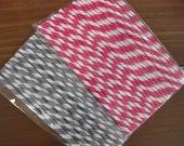 Gray or Hot Pink Stripe Retro Paper straws