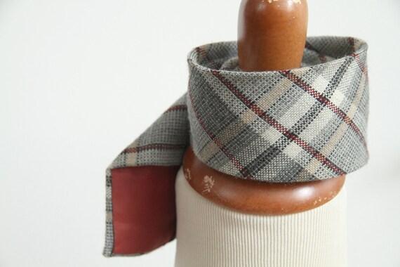 Vintage 70s Plaid Wool JC Penneys Necktie