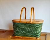 Vintage Green Woven Picnic Basket