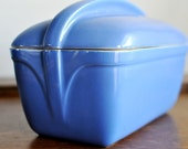 Vintage Blue Covered Refrigerator Dish Loaf Pan by Hall Westinghouse China