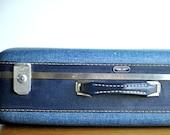 Vintage Denim Blue American Tourister Suitcase