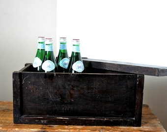 Antique Rustic Wood Storage Box with Lid