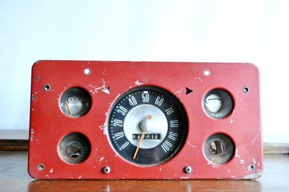 Vintage Automobile Speedometer Odometer Fuel and Temp Gauge