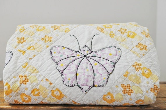 Vintage Shabby Chic Butterfly Applique Cutter Quilt