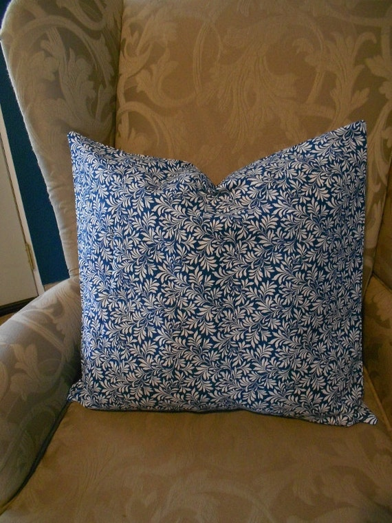 Two Blue and white retro flower print pillow covers sham 18x18