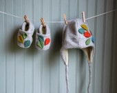 Spring Leaves Eco Cashmere Bootie and Hat Set 0-12 month size//Made by Custom Order