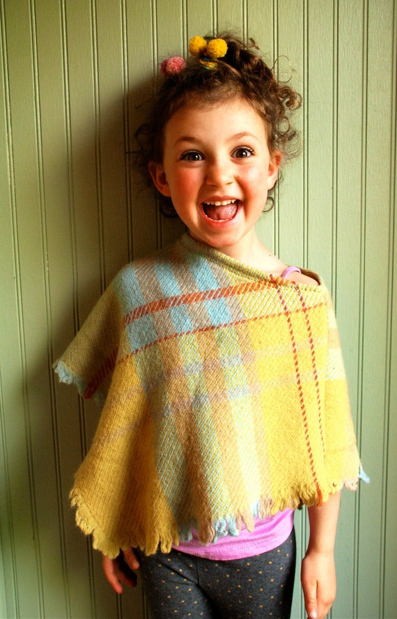 Girl's Poncho made from Reclaimed Lambswool
