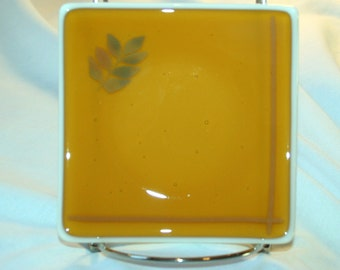 """Candle holder 50% off glass trinket bowl dish 4.5"""" square amber cream base w leaf accent for coins soap keys decorative accent"""
