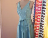 Turquoise Drop Waist Party Dress (Size 8)