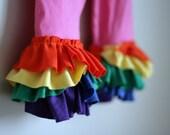 CLEARANCE rainbow ruffle legging 2T cropped pink with rainbow ruffles ooak