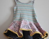 CLEARANCE  Dress 2T Fishtail Stripe Toddler OOAK high lo multi tier skirt dress screen print bow sundress