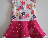 CLEARANCE  Fishtail Dress 18M Pink Dot Floral OOAK toddler  hi lo dress short sleeve dress hand printed with stripes