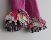 Ruffle Legging 3T Capri Fushia Floral Upcycle OOAK