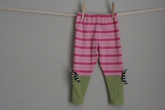 custom order for swirvin16 cropped legging pink stripe with green ooak