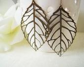 Leaf Earrings- Antique Brass Leaf dangle Earrings