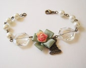 Satin Bow Pearl Linked Charm Bracelet- Antique Brass- One Of A Kind