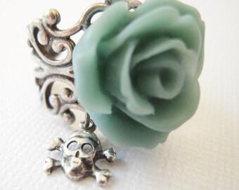 Teal Skull Rose Ring- Antique Silver- Adjustable Ring- Skull Candy Teal