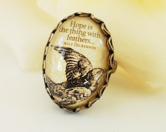 Steampunk Hope Ring- Emily Dickinson- Bird- Antique Brass-Black Friday Sale 20% Off