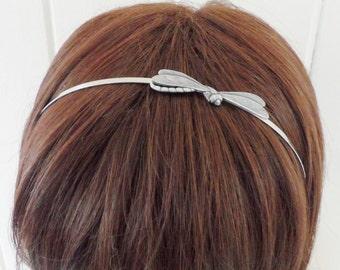 Steampunk Dragonfly Headband- Metal Headband- Silver Dragonfly
