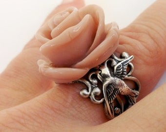 Steampunk Dusty Pink Sparrow Rose Ring- Antique Silver- Adjustable Ring