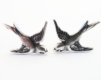 Steampunk Sparrow Earrings- Sterling Silver Ox Finish- Surgical Steel or Titanium Post Earrings