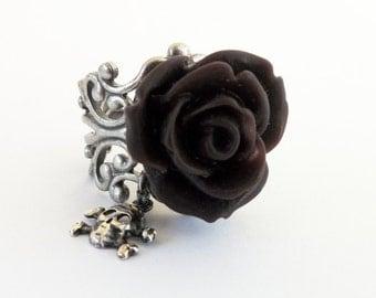 Midnight Plum Rose Skull Ring- Antique Silver- Adjustable- Skull Candy Midnight