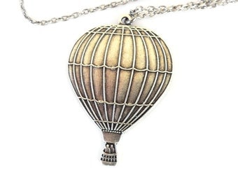 Hot Air Balloon Necklace- Sterling Silver Ox Finish
