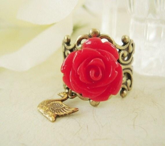 Red Rose Swan Ring- Anntique Brass- Adjustable