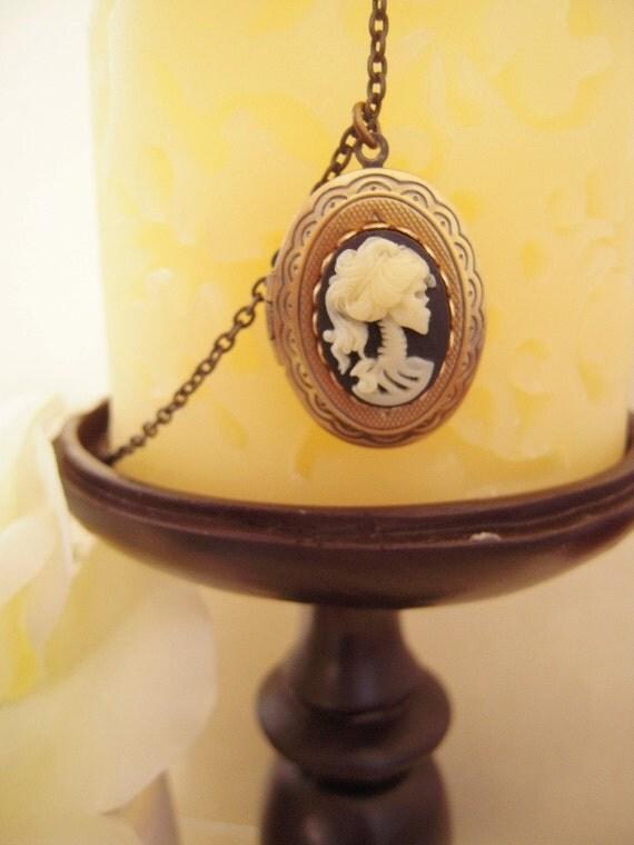 Skeleton Goddess Locket- Antique Brass Locket Necklace- Skull Locket