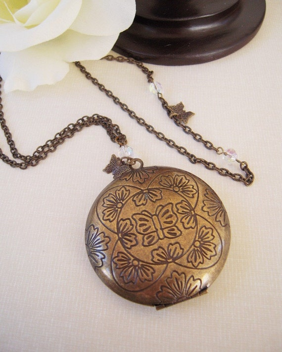 SALE Butterfly Locket Necklace Set- Layered Antique Brass Necklaces