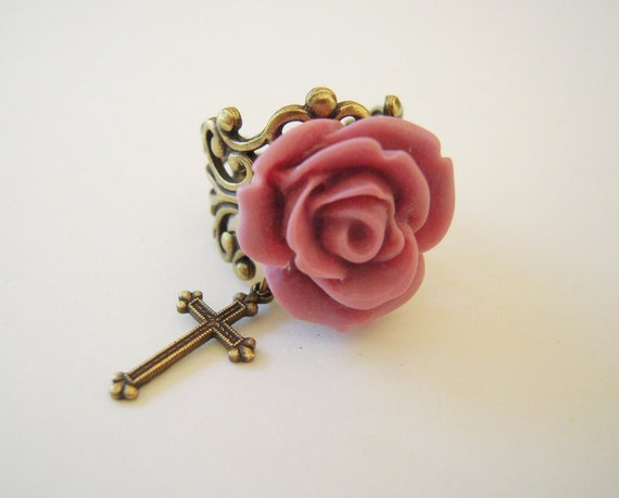 Pink Rose Cross Ring- Religious relics- Adjustable- Antique Brass
