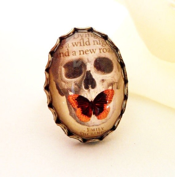 Steampunk Butterfly Skull Ring- Emily Dickinson- Adjustable- Antique Brass- Last One