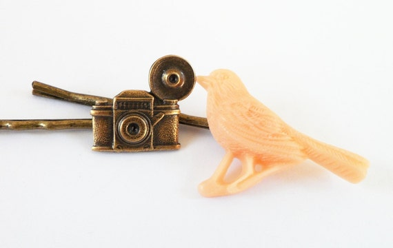 Tourist Steampunk Hair Pin Set- Steampunk Camera & Bird Hair Pin Set