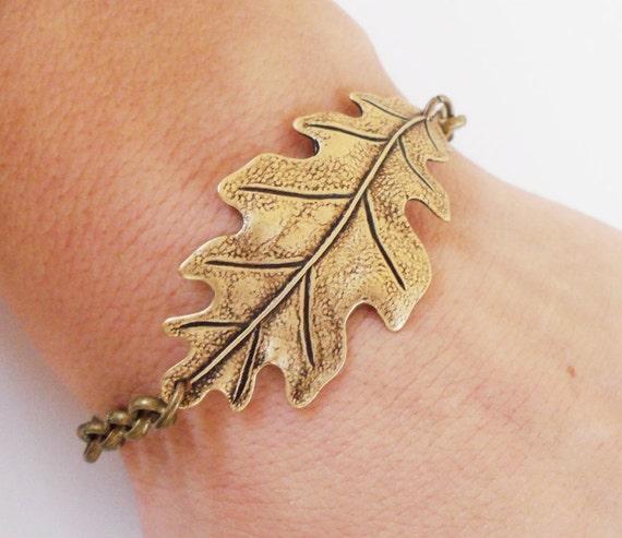 Steampunk Oak Leaf Bracelet- Antique Brass- Last One