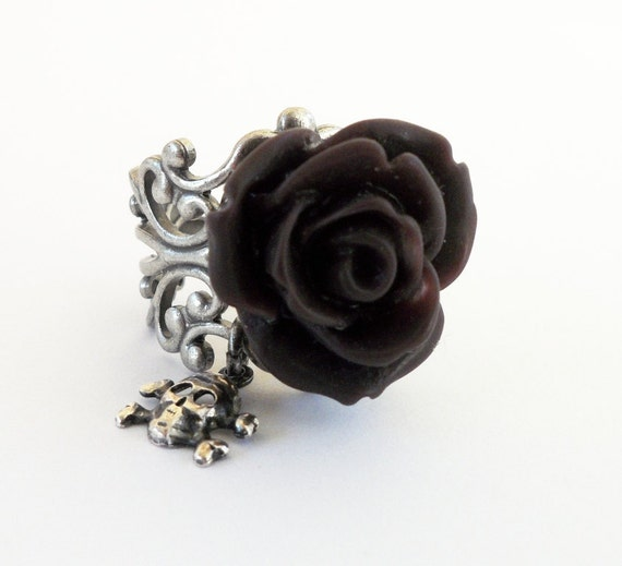 Midnight Plum Rose Skull Ring- Antique Silver- Adjustable- Skull Candy Midnight