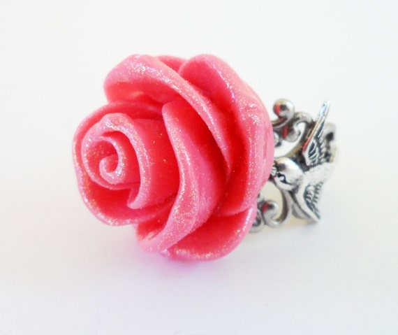 Steampunk Glitter Pink Sparrow Rose Ring- Antique Silver- Adjustable Ring