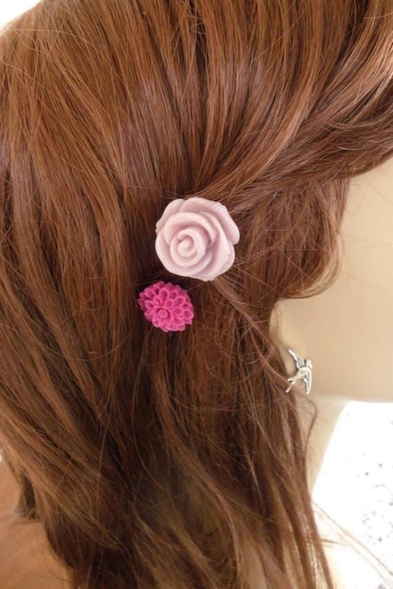 Lavender Rose Flower Hair Pin Set